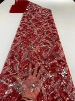 newcoming beautiful beaded mesh lace fabric 5yards african embroidered net tulle lace fabric with sequins for wedding zx6101