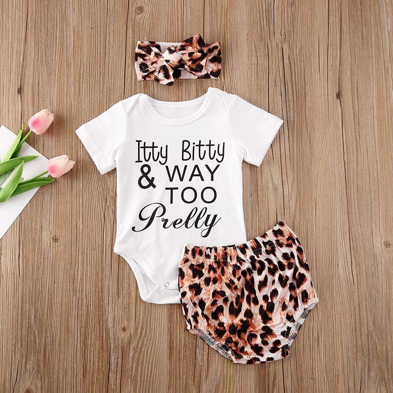 Комплект летней одежды для новорожденных девочек, комбинезон с коротким рукавом, шорты с леопардовым принтом, повязка на голову, комплект и...