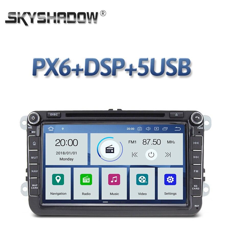 DSP reproductor de DVD de coche PX6 IPS Android 10 4GB de RAM + 64G ROM Radio RDS Bluetooth mapa GPS Wifi para VW POLO GOLF PASSAT B5 B6 Tiguan