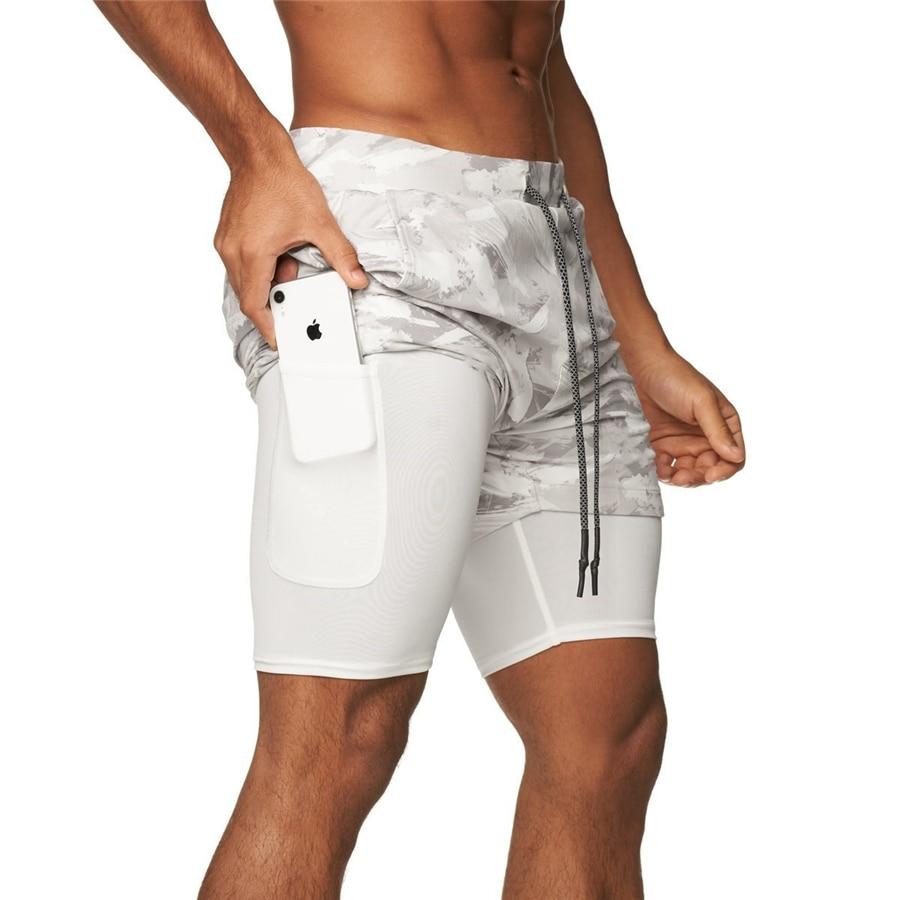 Мужские шорты 2 в 1 для бега, летние спортивные шорты для бега, фитнеса, быстросохнущие камуфляжные мужские шорты для тренировок, спортивные ...