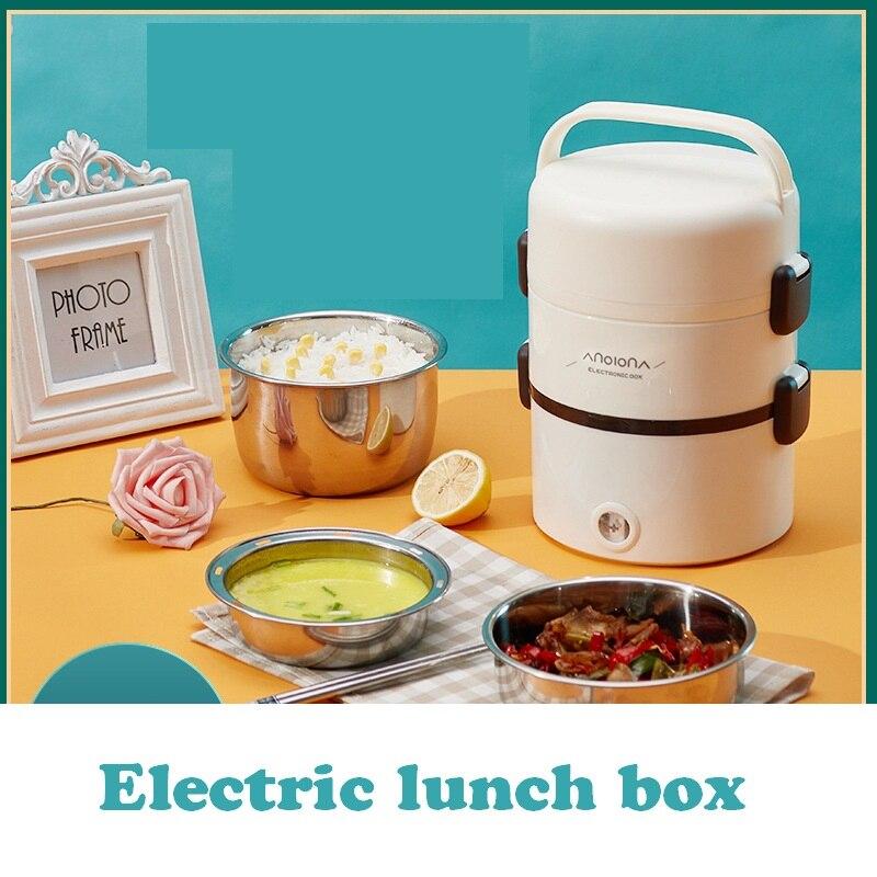 Электрический Ланч-бокс, подключаемое электричество, самонагревающийся, сохраняющий тепло, приготовление пищи, портативный двухслойный Ла...
