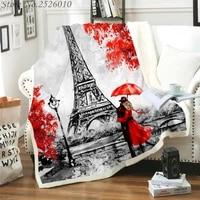 throw blanket paris i love you 3d velvet plush blanket bedspread for kids girls sherpa blanket couch quilt cover travel 03
