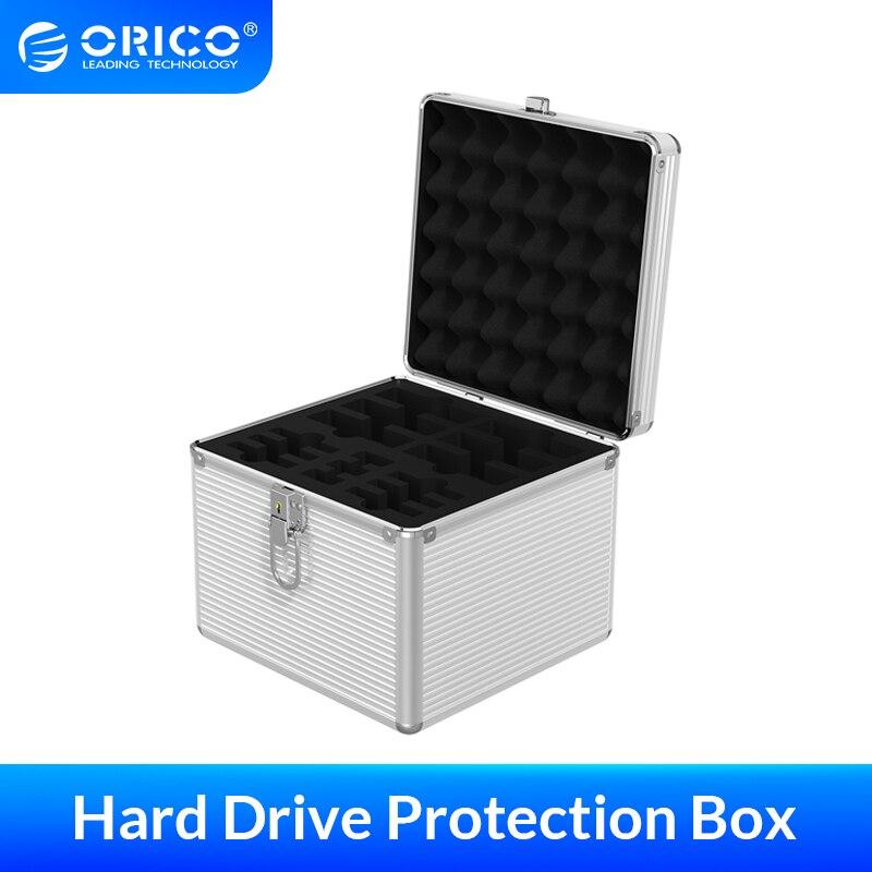 ORICO-صندوق حماية للقرص الصلب المصنوع من الألومنيوم ، 15/10/5 Bay ، 3.5 ، 2.5 بوصة ، HDD ، M.2 SSD ، تخزين مع قفل ، حافظة مقاومة للصدمات والغبار
