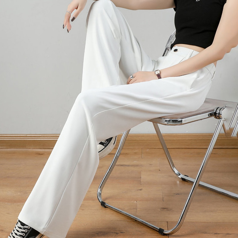 Костюмные брюки большого размера, серые, женские летние прямые брюки с широкими штанинами для студентов, тонкие свободные брюки из ледяного...