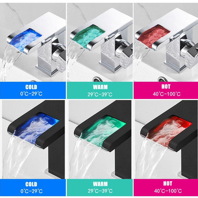 2021 LED RGB اللون شلال حوض للحمام صنبور الحمام صنبور حوض خلاط بالوعة صنبور وحيد مقبض المرحاض صنبور حوض خلاط