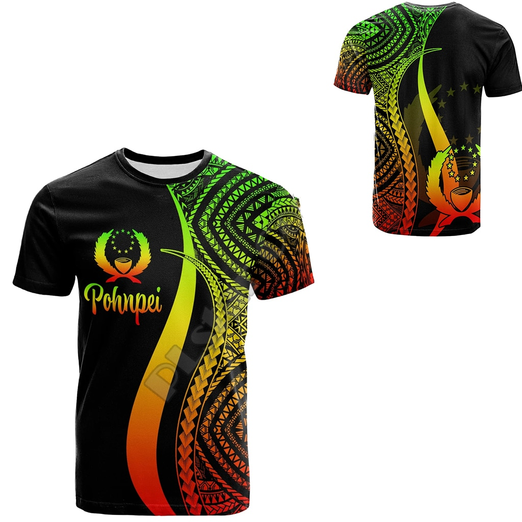 Pohnpei Polynesian Culture Tribe Island Retro Tattoo 3DPrint Men/Women Summer Streetwear Short Sleeve T-Shirts A-1