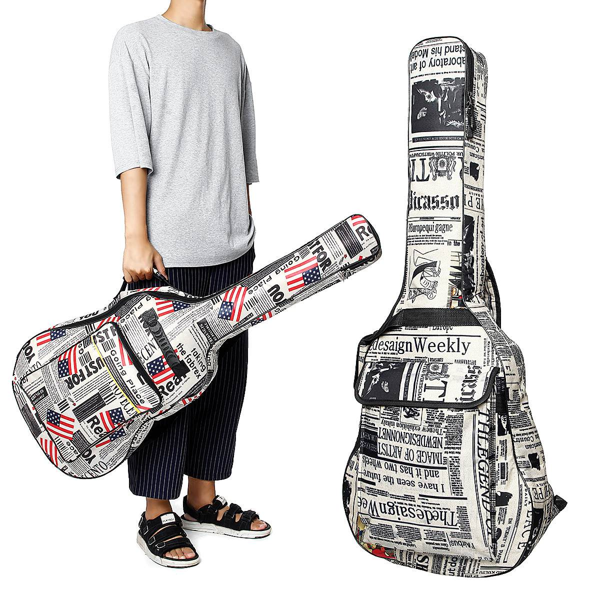 Bolsa de guitarra, mochila esponja macia organizador bolsa de instrumentos musicais à prova dágua com alça de ombro, 41 Polegada