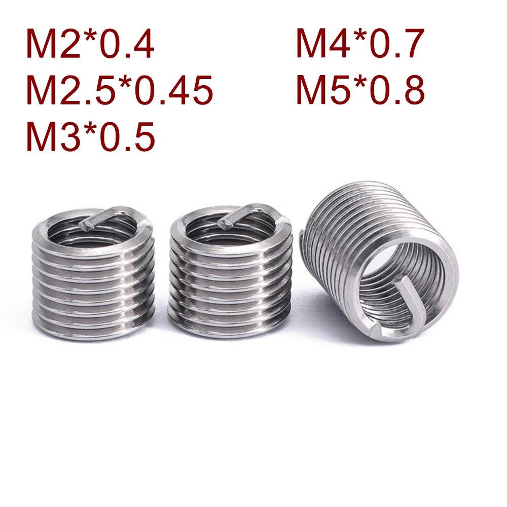 50 teile/los Edelstahl Draht Gewinde Einsatz M2 M 2,5 M3 M4 M5 * 1D/1,5 D/2D/2,5 D/3D Schraube Buchse Gewinde Reparatur DIN8140