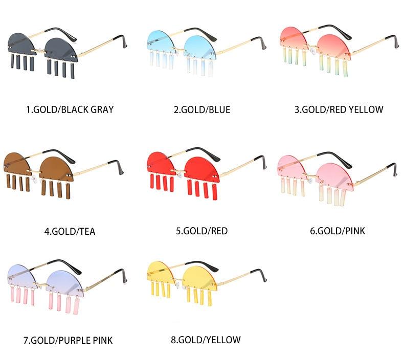 New jellyfish Sunglasses Street Photo fashion colorful pendant Sunglasses Women's cut edge semicircl