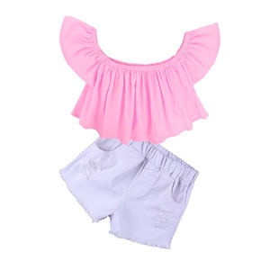 2021 Summer Girls Casual Fashion Print T-shirt And Skirt Outfit 2pcs Sets Cotton For Kids Children