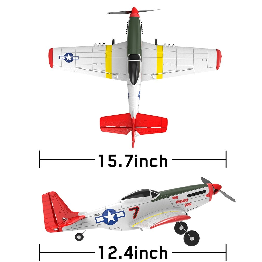 RC Airplane P-51D EPP 400mm Wingspan 2.4G 6-Axis Electric Remote Airplane Trainer 4CH RTF Remote Control Aircraft Fixed Wing enlarge