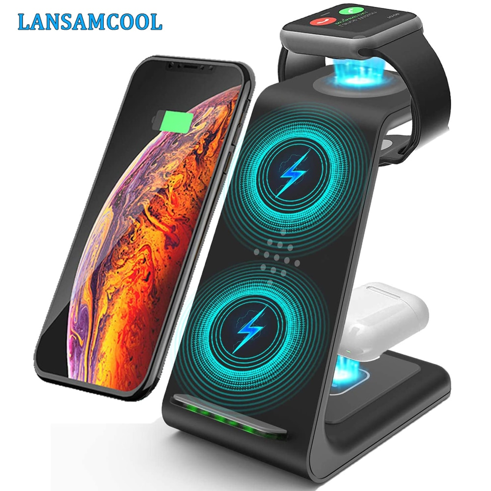 3 in 1 Wireless Charger Stand For iPhone 11/12 Pro Max Qi 15W Fast Charging Induction Chargers For A