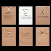sun butterfly leaf pearl necklace pendant simple bar stick bird owl animal clavicle chain necklace paper card jewelry for women