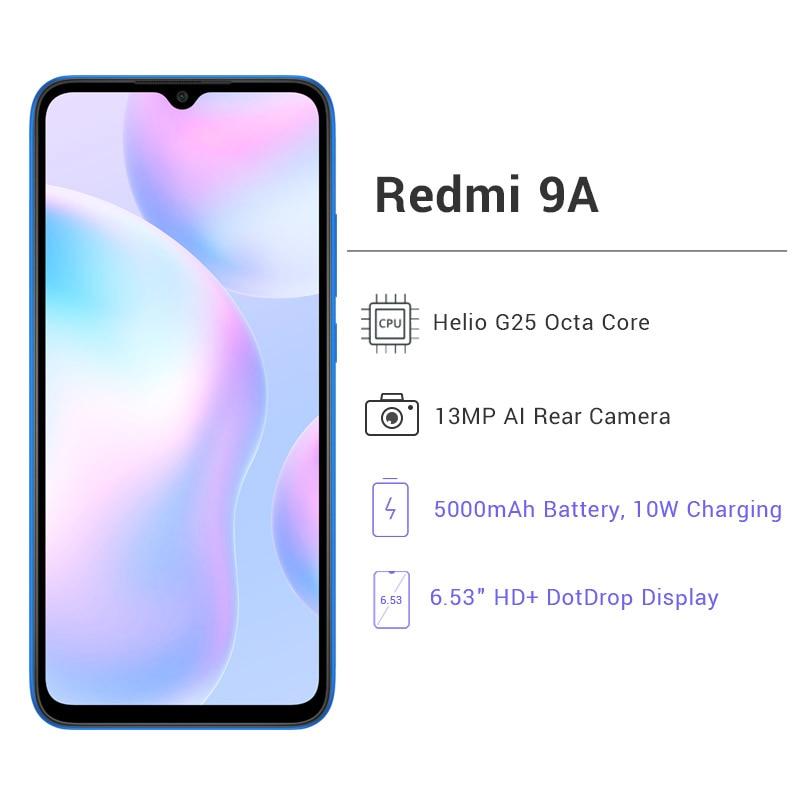 Перейти на Алиэкспресс и купить Xiaomi Redmi 9A глобальная версия 9 объемом до 32 GB/64GB смартфон, четыре ядра, 13MP HD + 5000 мА/ч, MTK Helio G25 AI камера заднего вида 6,53дюйм