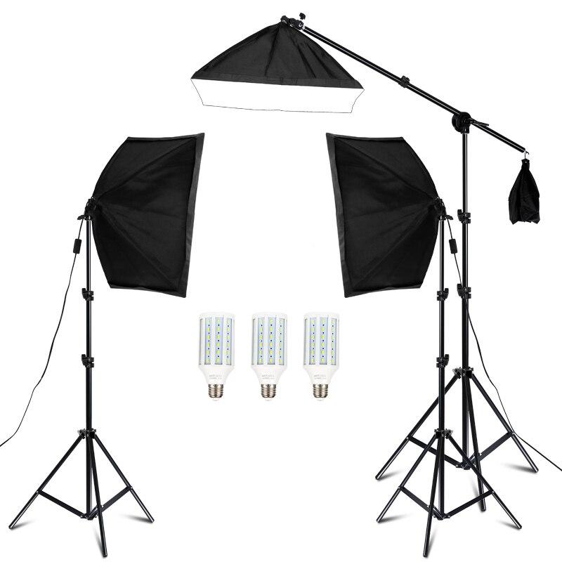 Kit de estudio de fotografía, Softbox de iluminación, brazo para vídeo y YouTube, iluminación continua, juego de iluminación profesional, estudio de fotografía