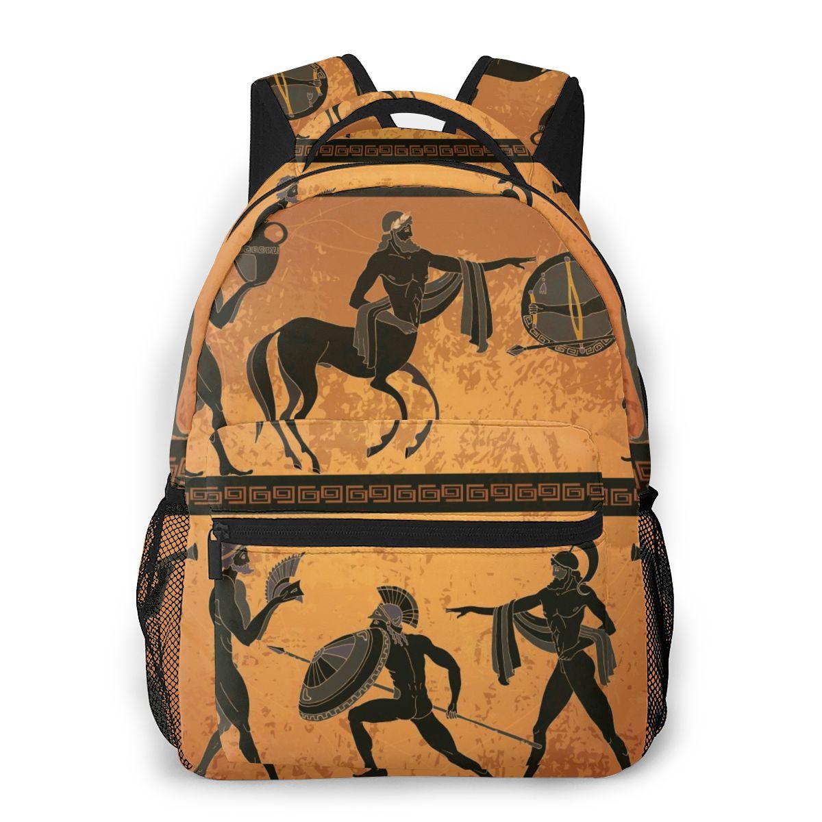 حقيبة سفر بجيوب للنساء ، مشهد اليونان قديم مع الأساطير الفخارية السوداء ، حقيبة مدرسية غير رسمية