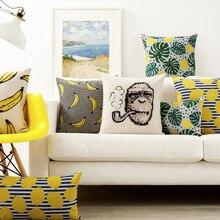 Nordic Rural Art Pillow Cover Monkey Banana Cushion Cover Home Decorative Pillows Linen Pillow Case Office Sofa Cushion