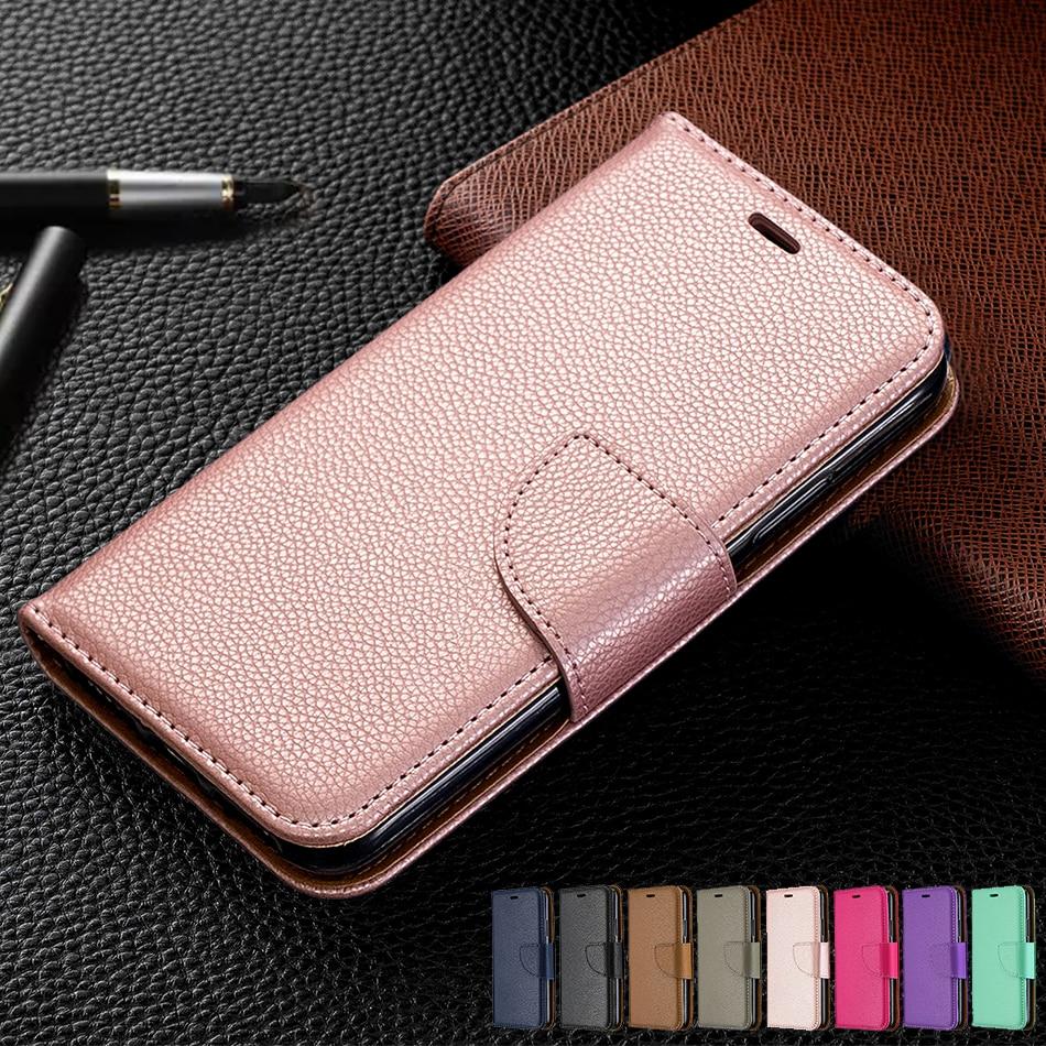 Lujosas fundas con tapa tipo billetera de Color liso con patrón de lichi para iPhone 11 Pro Max Cover para iPhone XS Max X XR 6 6S 7 8 Plus bolsas para teléfono