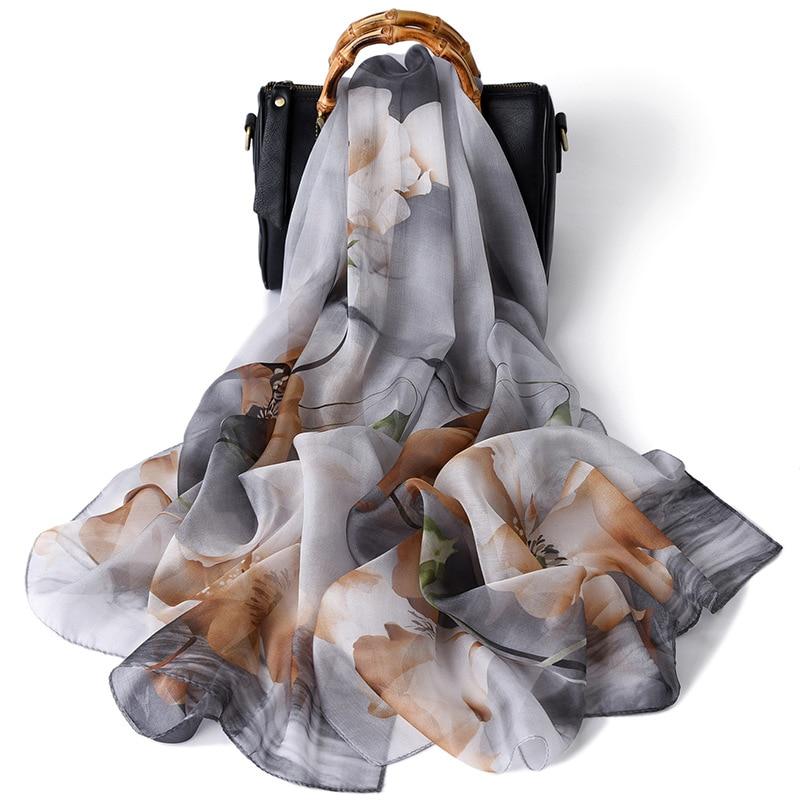 Bufanda de mujer de alta calidad de seda Artificial estampado flor precio competitivo chales largos de moda blanco