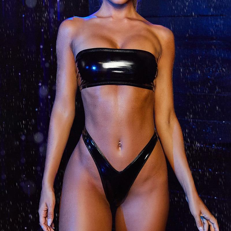 Traje de baño brasileño para mujer, bikini de cintura alta, bañador de vinilo 2020, Tanga de bikini bandeau, traje de baño negro y naranja con cremallera en la espalda