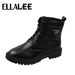 Boots Woman 2020 Beathable/Mesh Lining Black Fashionable Women Shoes Sequin Lace-up Round Toe PU Short Comfortable Boots Boots