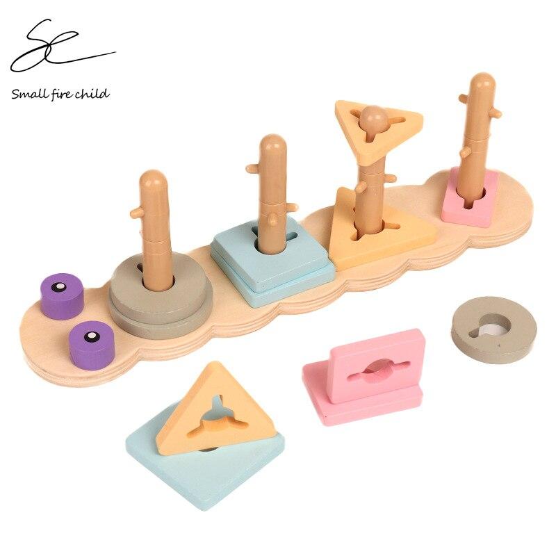 Juguetes de los niños de madera de Monterssori juguetes forma geométrica de la cognición encuentro preescolar enseñanza SIDA juguetes educativos para edades tempranas para los niños