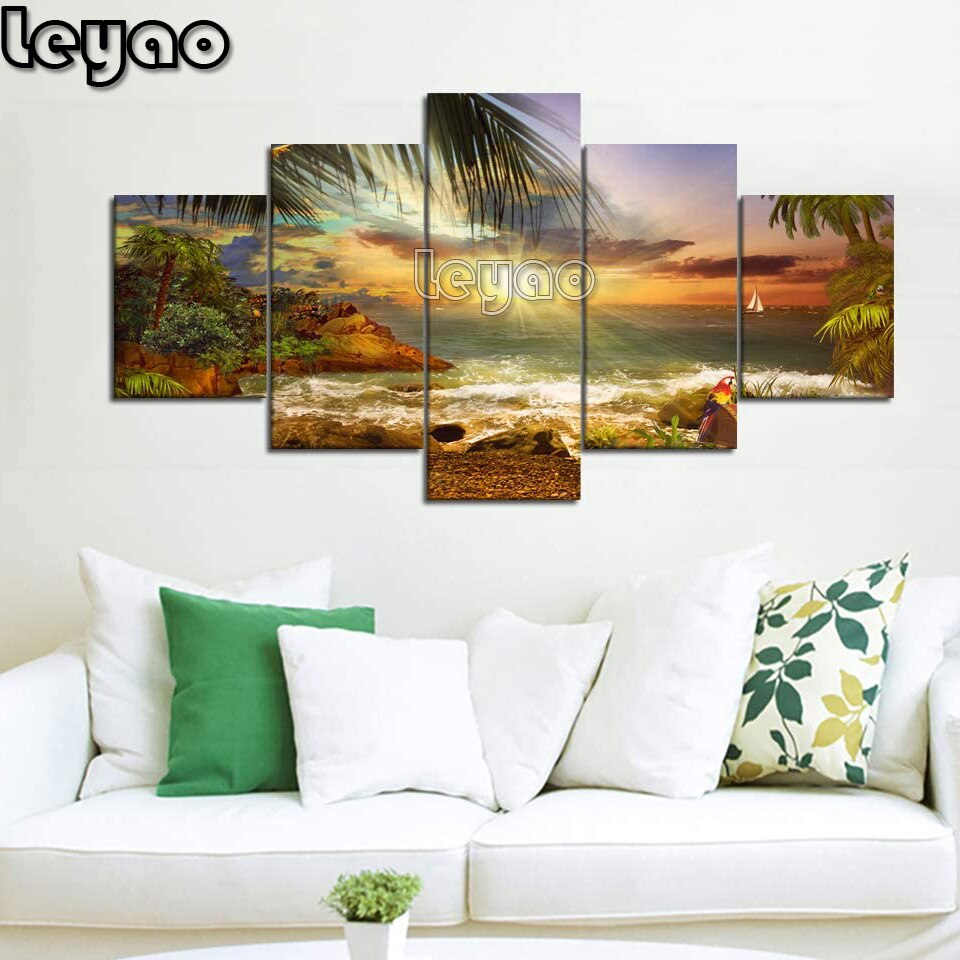 Cuadro de diamantes diy, taladro redondo cuadrado completo, moderno, 5 piezas, paisaje oceánico de playa, cuadro de arte de pared adecuado para sala de estar