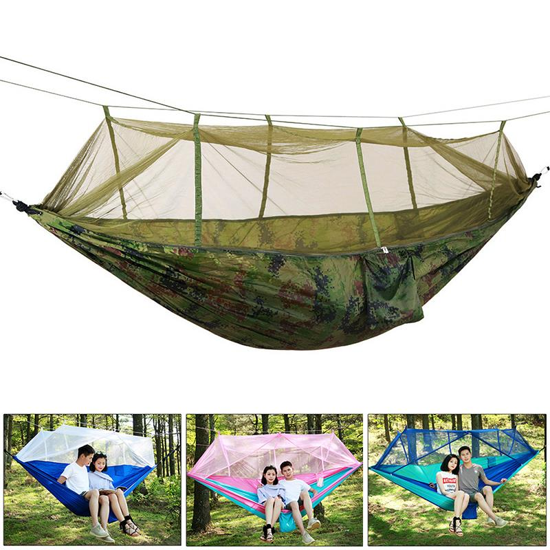 4color Tent Hammock Mosquito Net Couch Sturdy Hanging Camping Tents Lifts Nylon Practical Travel Swing Hanging Bed Durable