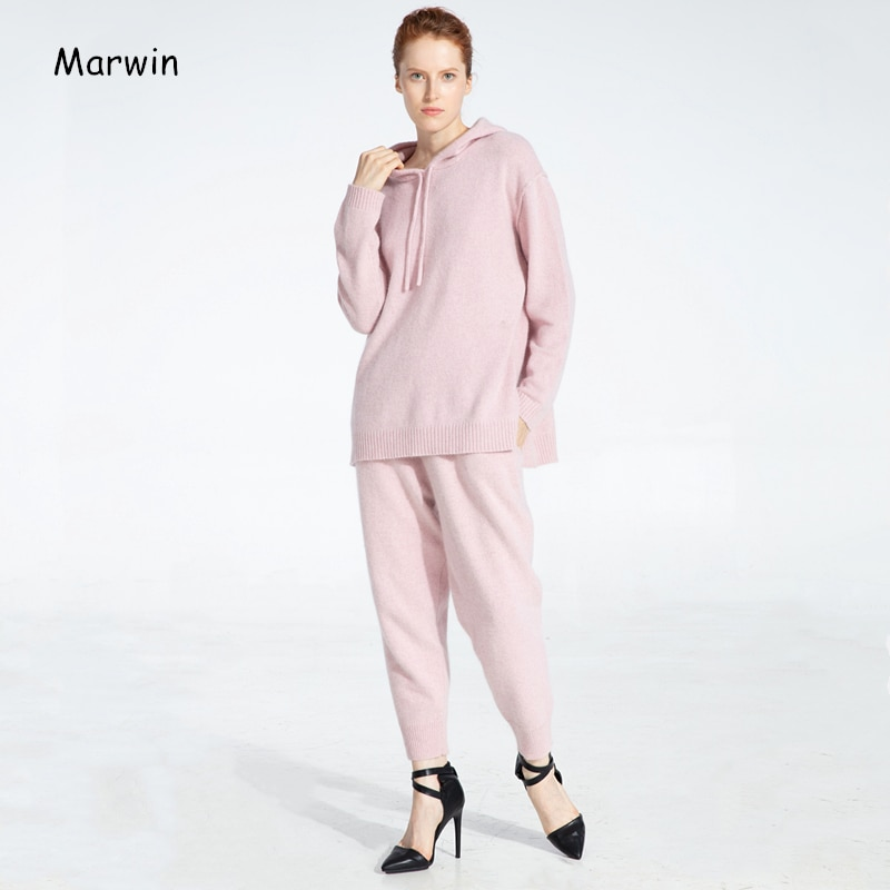 Marwin 2020 New-Coming Spring Sweater Suits and Sets Causal Wool Material Hooded Sweaters Knit Long Pants 2PCS Clothing Sets