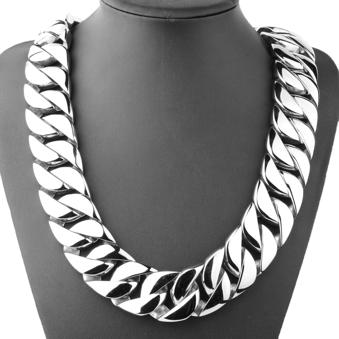 Review 31MM Wide Shiny Cuba Big Necklace Men Hip Hop Stainless Steel Jewelry Hand-polished Casting Bracelet Hiphop Tide Jewelry