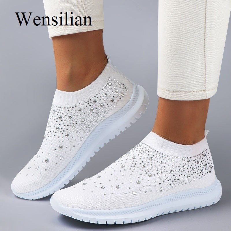 Vulcanized Shoes Sneakers Women Trainers Knitted Sneakers Ladies Slip-on Sock Shoes Sparkly Crystal Zapatillas Mujer Casual