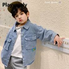 2021 New Boys Jackets Baby Coats Blue Denim Casual Kids shirt Coats for Boys Kids Clothes E20090