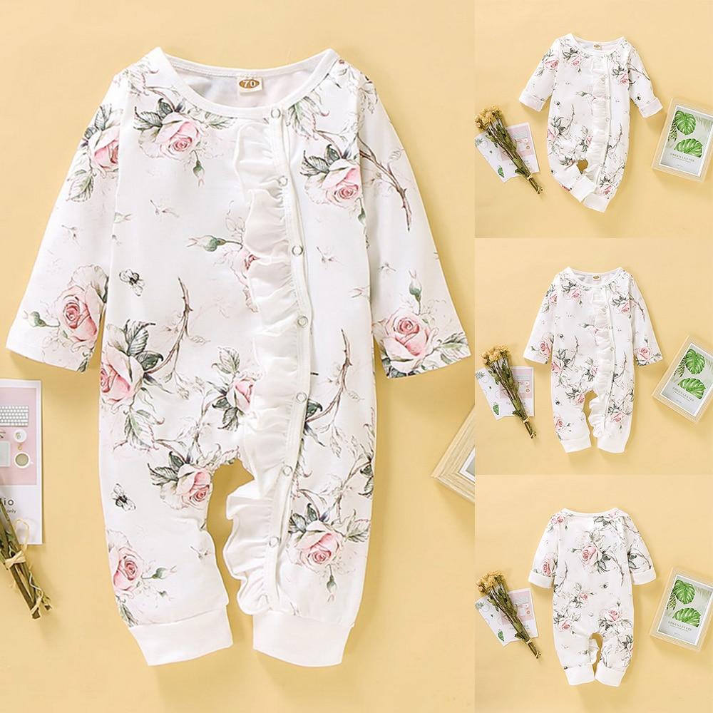 Barboteuse automne en coton à volants pour filles   0-18M, pour bébés filles, manches longues, col rond, vêtements pour nouveau-né ou bambins, vêtements et tenues D35