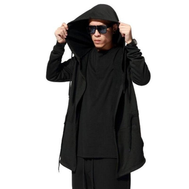 Moda Para hombre negro punk rock hip hop gabardina capa con capucha para hombre club nocturno DJ cantante escenario Chaqueta larga cardigan gótico abrigo 5XL