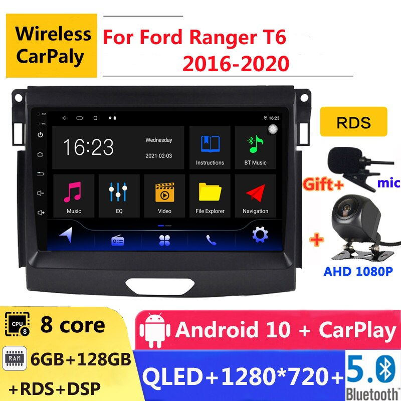 6G RAM 2 din أندرويد 10 سيارة راديو السيارات ستيريو لفورد رينجر T6 2016 2017 2018 2019 2020 الملاحة لتحديد المواقع دي في دي مشغل وسائط متعددة