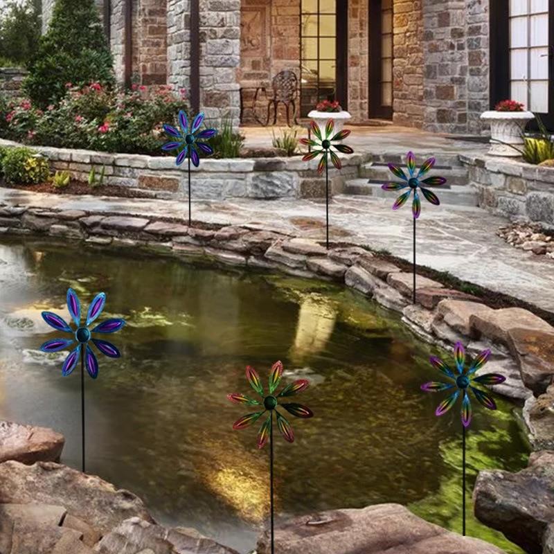 الحديقة Pinwheels زهرة على شكل حديقة الرياح سبينر اليدوية الملونة المعادن طاحونة للخارجية 22*9*66 سنتيمتر TN88 TN88