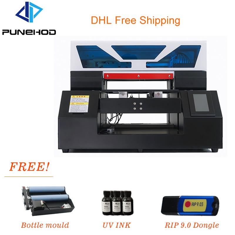 Punehod impresora UV A3 LED 3D de base plana, impresora en relieve HD, impresora Digital de inyección de tinta, funda de teléfono, botella de Golf, camiseta, impresora DTG