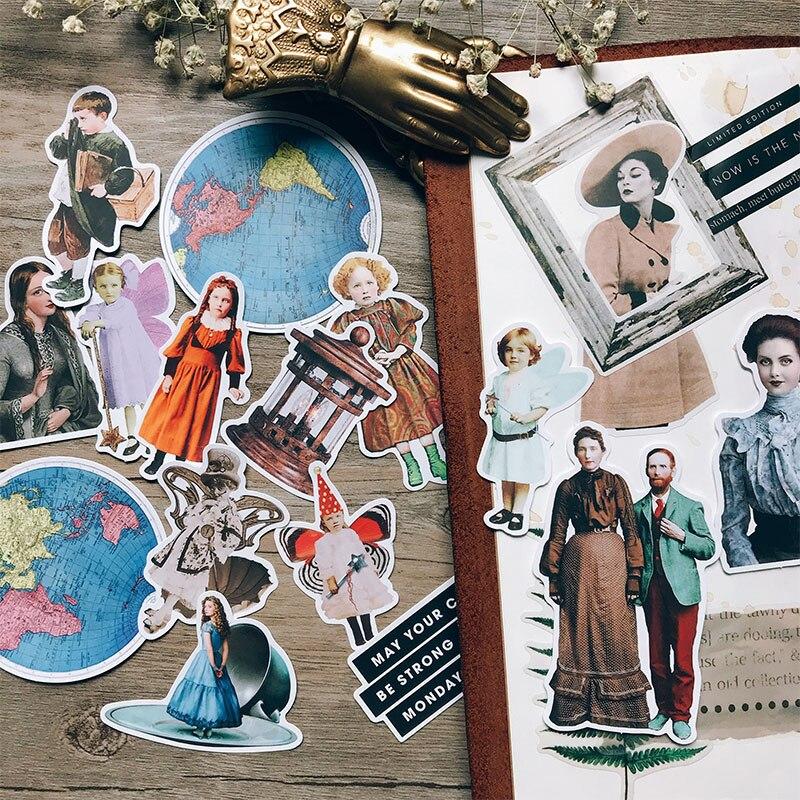 19Pcs/Bag Vintage Ephemera Family Letter Sticker DIY Craft Scrapbooking Album Journal Happy Planner Decorative Stickers
