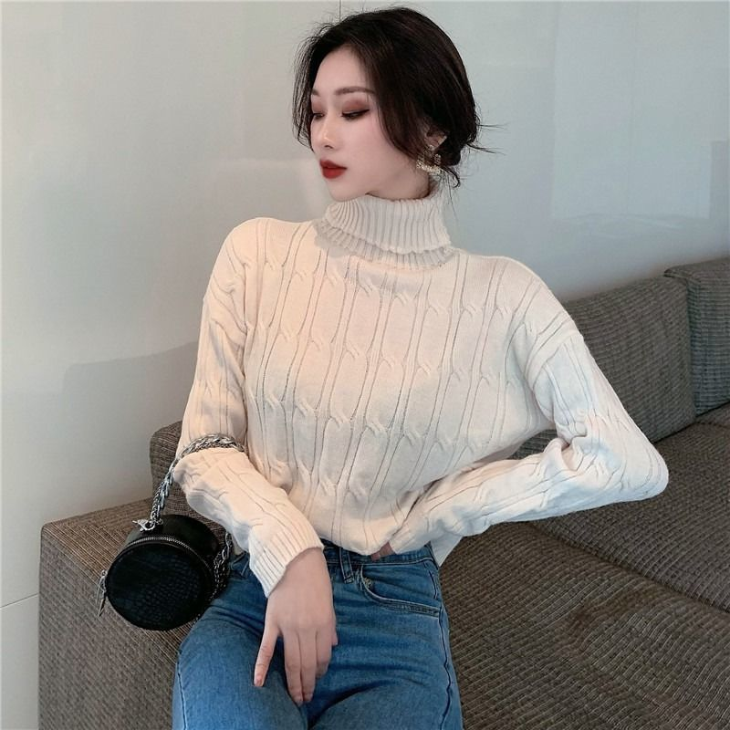 Casual Knitwear Women's Sweater Autumn / Winter 2020 New Turtleneck Long Sleeve T-shirt Jumpers Pullover For Women