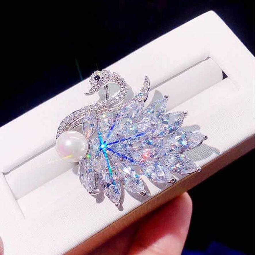 Cygne blanc avec perle broche luxe Zircon cristal animaux broches broches pour femmes bijoux de mariage broche femme bijoux de luxe