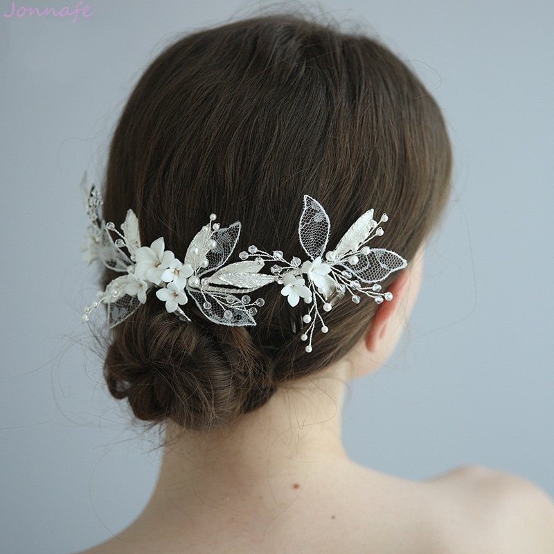 Encantadora Flor de porcelana de novia largo peine enredadera para el cabello Hoja de encaje de las mujeres corona hecha a mano accesorios para el cabello de boda