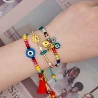 rinhoo rainbow macrame bracelet evil eye pearl bracelets for women boho jewelry crystal colorful beads handmade gift