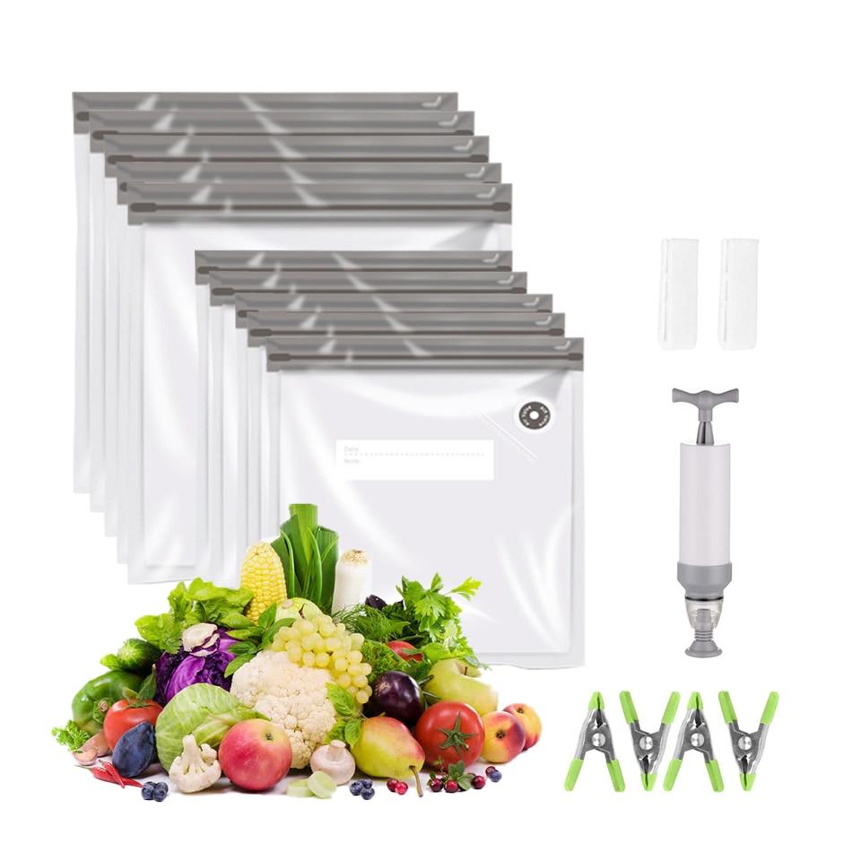 أكياس تخزين الطعام الفريزر القابل لإعادة الاستخدام مع مشبك السدادة ، أكياس بسحاب فراغ السدادة مع صمام الهواء طبقة مزدوجة فراغ المطبخ الطبخ