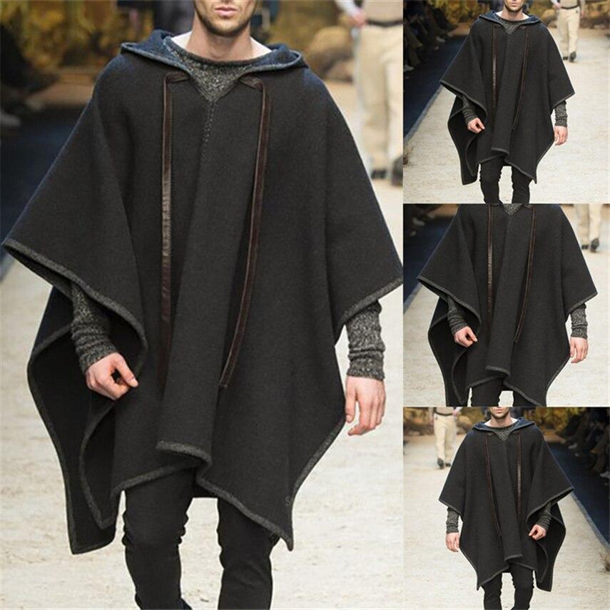 Halloween cosplay trajes para homem adulto medieval gótico casaco de lã idade média renascentista preto cavaleiro roupas