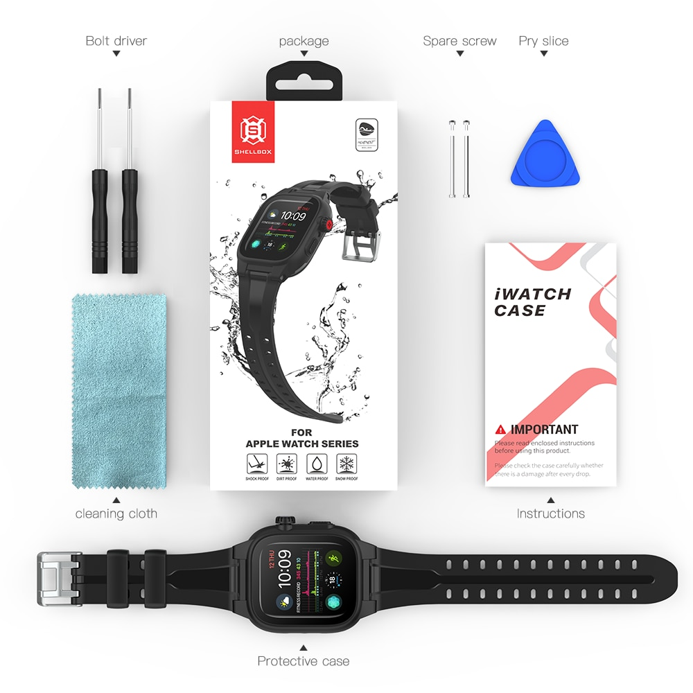 For Apple Watch SE Case Series 6 5 4 3 2 Full Screen Protective Waterproof Cover+Silicone Band Sport Strap for iWatch 44mm 42mm enlarge