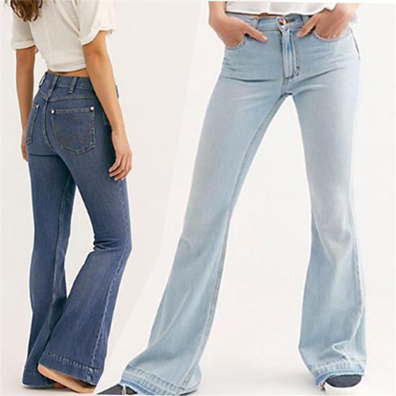 Джинсы-клеш Женские с вышивкой, модные элегантные однотонные брюки-клеш со средней талией, модные офисные брюки с поясом-колоколом