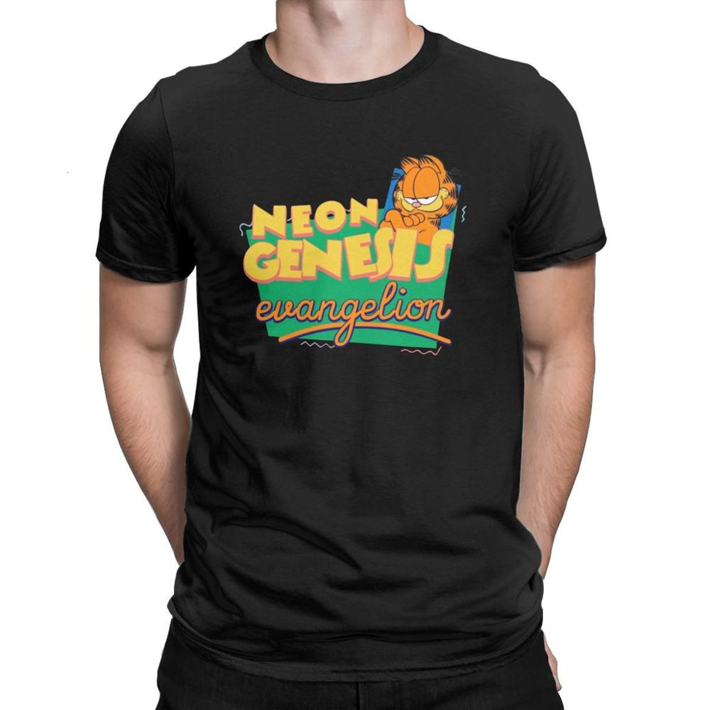 Tyburn Neon Genesis Garfield Men T Shirts Lovely Cat Funny Tee Shirt Short Sleeve T - Shirt Pure Cot