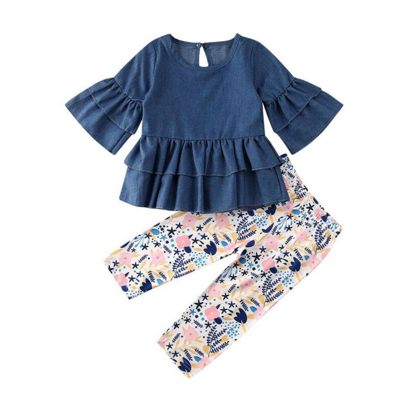 Para niña pequeña ropa de otoño bebé niña manga larga volantes Mini vestido largo pantalones estampados florales ropa 1-6Y