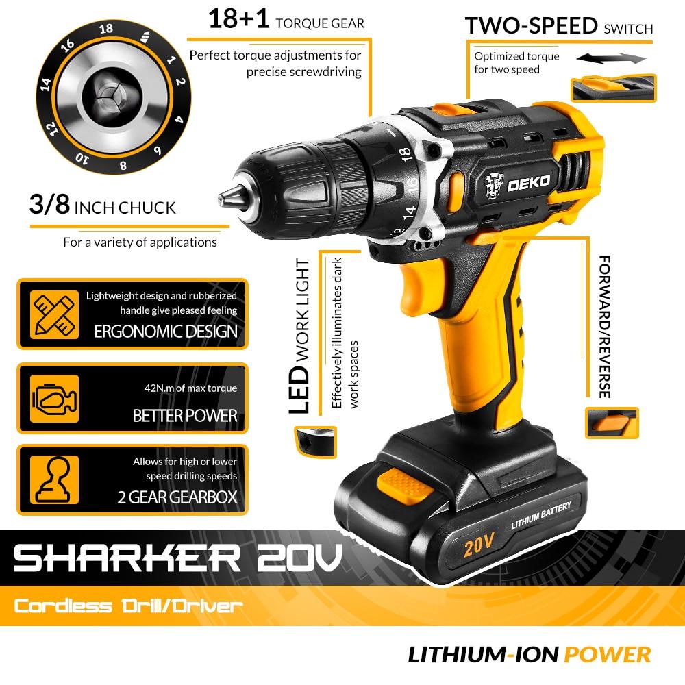 12V / 16V / 20Vコードレスドリル電動ドライバー、18 + - パワーツール - 写真 2