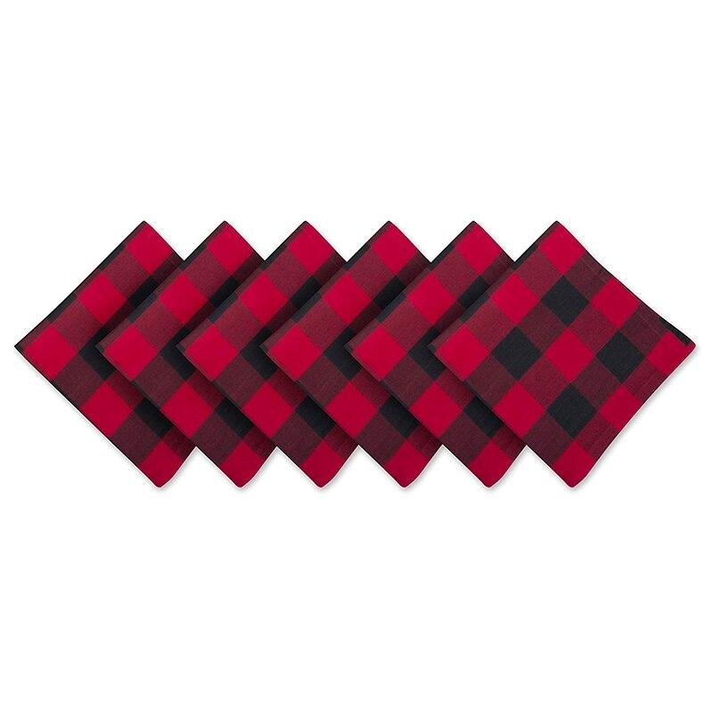 Tela básica de algodón de gran tamaño para la colocación diaria, decoración de granja, cena familiar, barbacoa y festivos 51x51cm rojo y Blac
